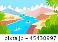 山 アウトドア 川のイラスト 45430997