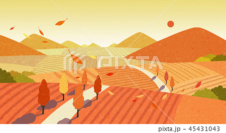 Beautiful autumn landscape colorful nature scenery vector illustration 008 45431043