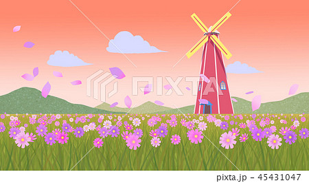 Beautiful autumn landscape colorful nature scenery vector illustration 005 45431047