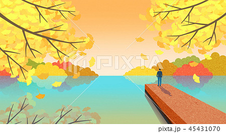 Beautiful autumn landscape colorful nature scenery vector illustration 004 45431070