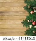 クリスマス 背景 木目のイラスト 45435013