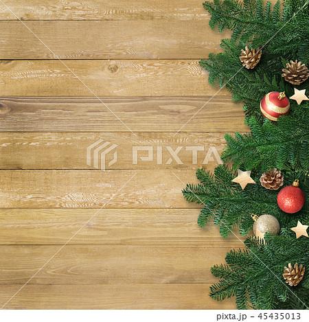 背景-木目-クリスマス-飾り 45435013