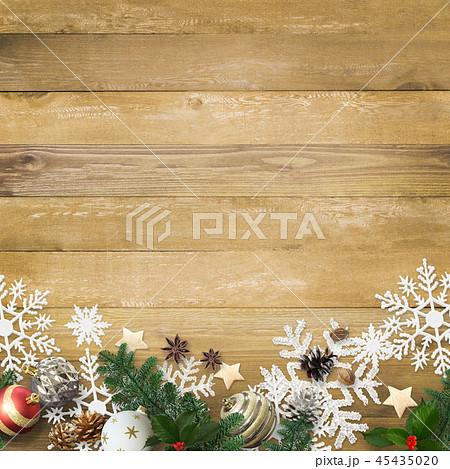 背景-木目-クリスマス-飾り 45435020
