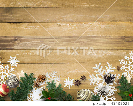 背景-木目-クリスマス-飾り 45435022