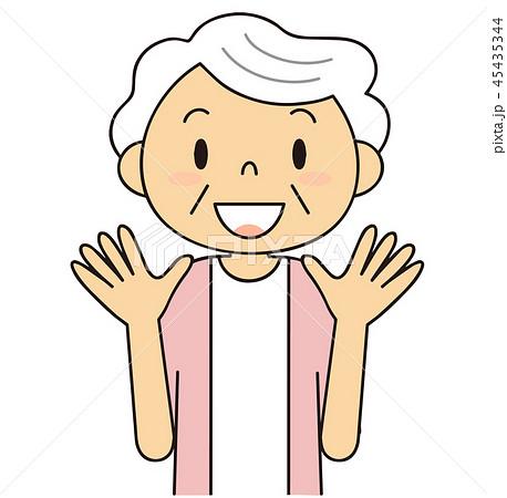 45435344 二頭身 シニア 女性 喜ぶおばあちゃん おどろく