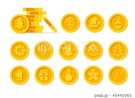 Christmas Cryptocurrency logo set - Santa Claus hat, bell, gingerbread man, ball, deer, snowman 45442063