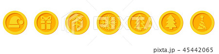 Santa Claus crypto currency Christmas winter new year holiday coins golden vector set for Christmas 45442065