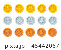 Cryptocurrency logo set for Christmas Fairs and Markets. Santa Claus crypto currency Christmas 45442067