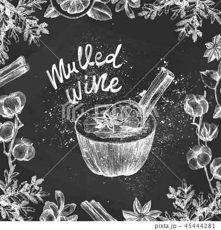 Vector chalk sketch drawing set. Mulled wine ingredients. Mulled wine glass, orange slice, cotton 45444281