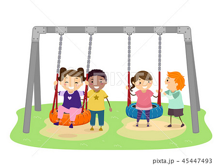 Stickman Kids Tire Swing Illustration 45447493