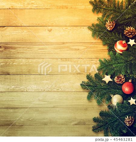背景-木目-クリスマス-飾り 45463281