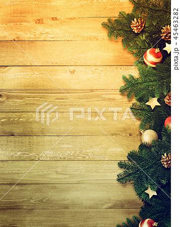 背景-木目-クリスマス-飾り 45463282