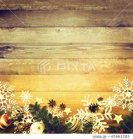 背景-木目-クリスマス-飾り 45463285