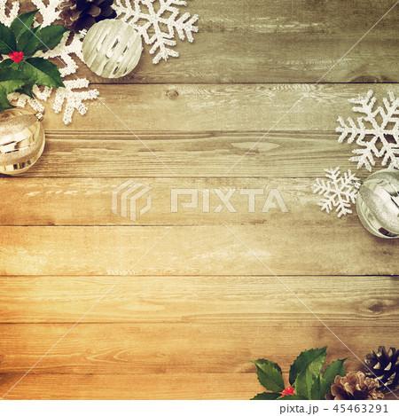 背景-木目-クリスマス-飾り 45463291
