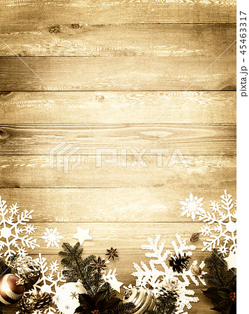 背景-木目-クリスマス-飾り 45463317
