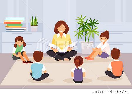 Teacher reads for kids book vector 45463772