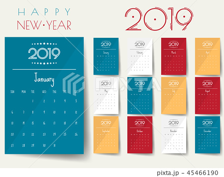 2019 Modern calendar template .Vector/illustration 45466190