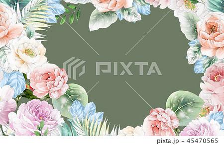 透明水彩 水彩画 花 45470565