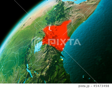 Kenya from space in evening 45473498