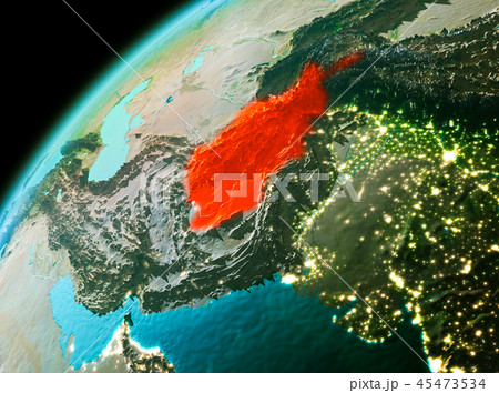 Afghanistan from space in evening 45473534