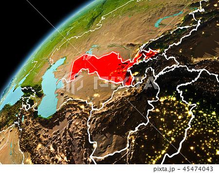 Evening view of Uzbekistan on Earth 45474043