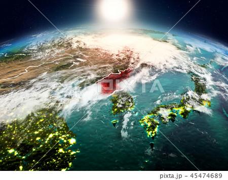 North Korea in sunrise from orbit 45474689