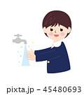 人物素材-手を洗う男の子 45480693