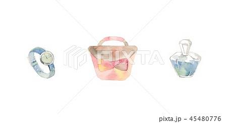 ターコイズブルーとピンクのファッション小物、香水 45480776
