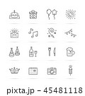 バースデー 誕生日 アイコンのイラスト 45481118
