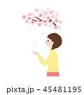 人物素材-桜と女性 45481195