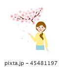 人物素材-桜と女性 45481197