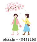 人物素材-桜と歩く女性2人 45481198