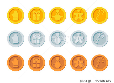 Cryptocurrency logo set for Christmas Fairs and Markets. Santa crypto currency Christmas winter new 45486385