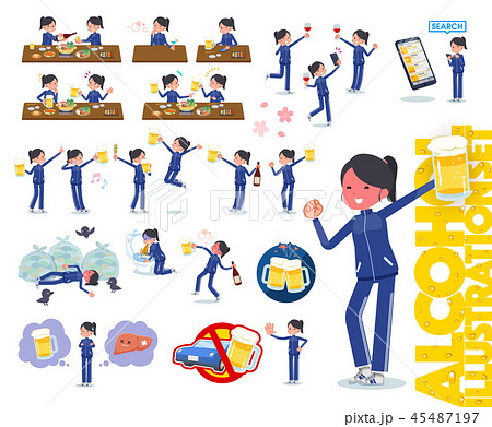 flat type school girl Blue jersey_alcohol 45487197
