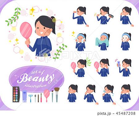 flat type school girl Blue jersey_beauty 45487208