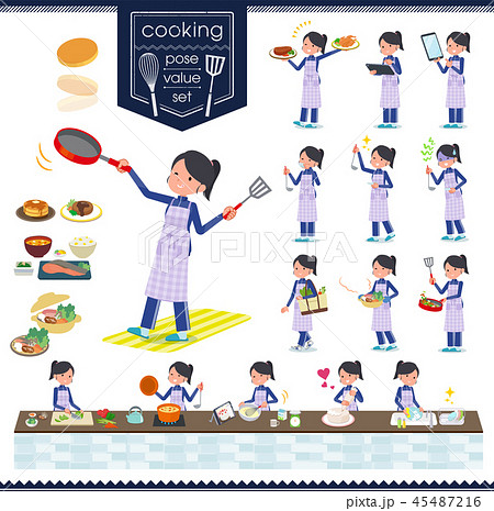 flat type school girl Blue jersey_cooking 45487216