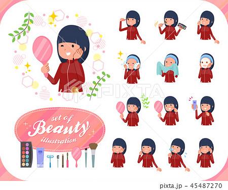 flat type school girl red jersey_beauty 45487270