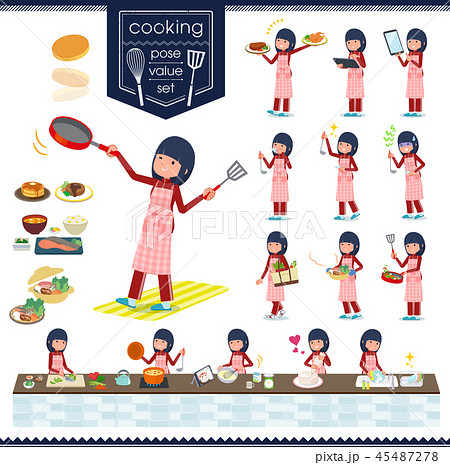 flat type school girl red jersey_cooking 45487278