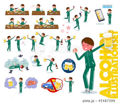flat type school girl green jersey_alcohol 45487399