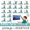flat type school girl green jersey_desk work 45487419