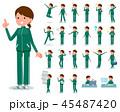 flat type school girl green jersey_emotion 45487420