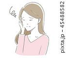 女性 頭痛 疲労のイラスト 45488582