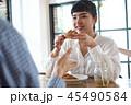 女性 カフェ 食事の写真 45490584