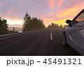 夕暮れの高速道路 45491321