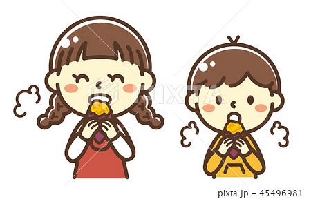 やきいもを食べる子供のイラスト素材 45496981 Pixta
