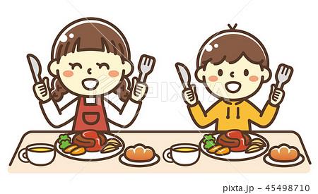 ハンバーグを食べる子供 45498710