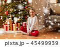 smiling girl at christmas home 45499939