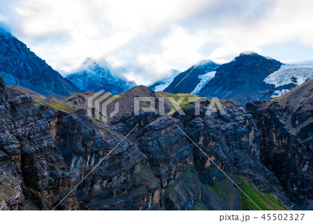 Nature view with snowy peaks 45502327