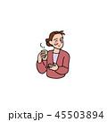お茶を飲む奥さん 45503894