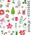 クリスマスカード 水彩 ポイントセチアのイラスト 45504866